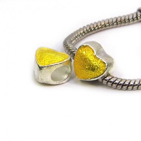 Бусина Пандора Сердце эмалированная, 10-10 мм, металлическая с желтой полупрозрачной эмалью