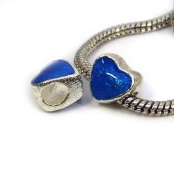 Намистина Пандора Серце емальована, 10-10 мм, металева з синьою напівпрозорою емаллю