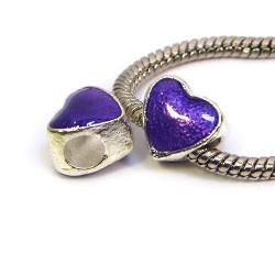 Намистина Пандора Серце емальована, 10-10 мм, металева з фіолетовою напівпрозорою емаллю