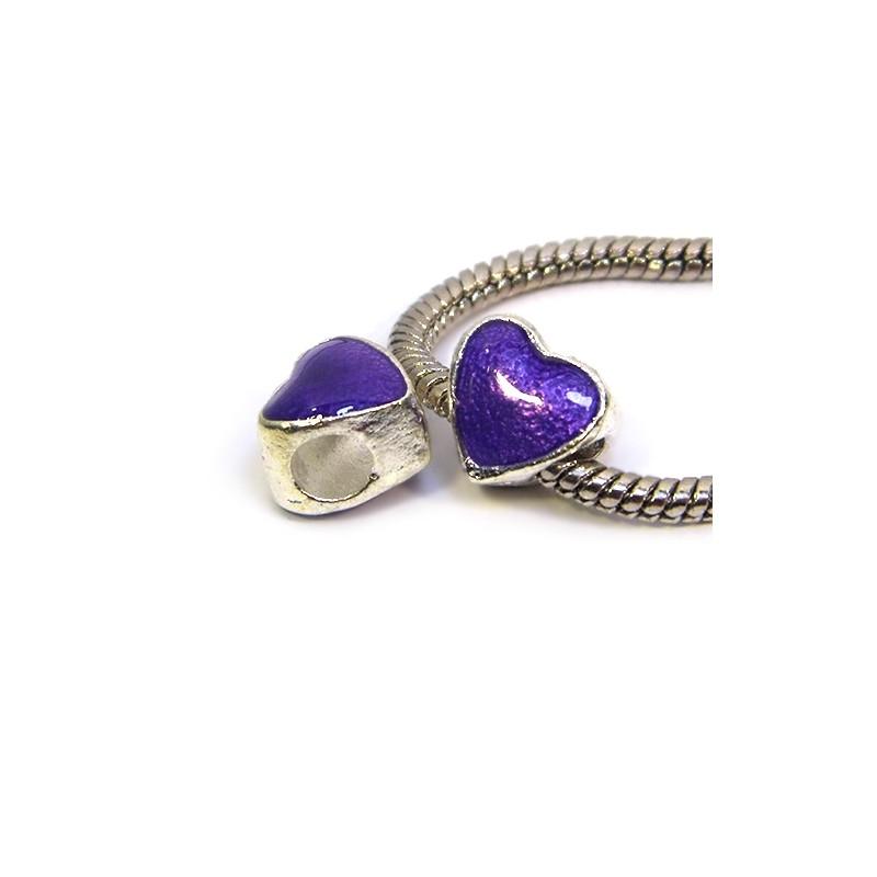 Бусина Пандора Сердце эмалированная, 10-10 мм, металлическая с фиолетовой полупрозрачной эмалью