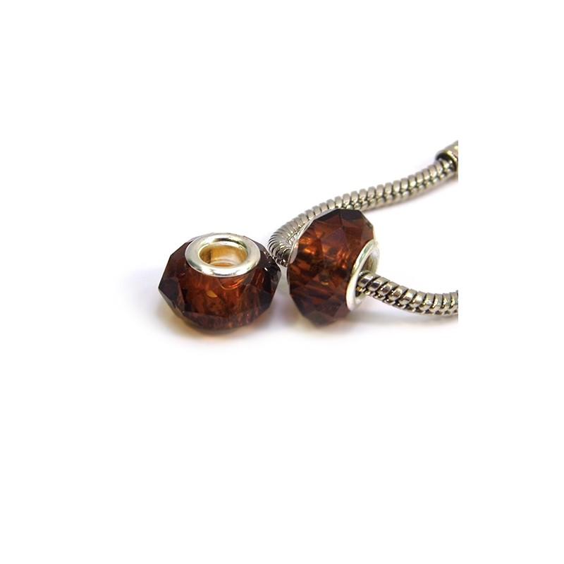 Бусины Пандора, хрустальные с огранкой, 8х14 мм, янтарные