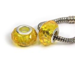 Бусины Пандора, хрустальные с огранкой, 8х14 мм, желтые