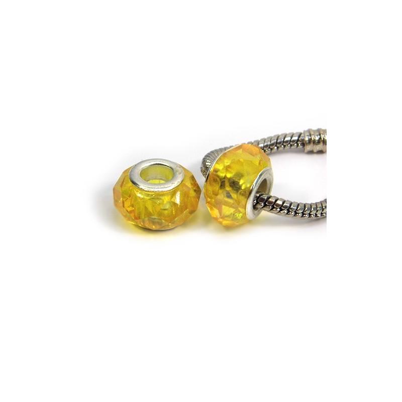 Намистини Пандора, кришталеві з огранюванням, 8х14 мм, жовті