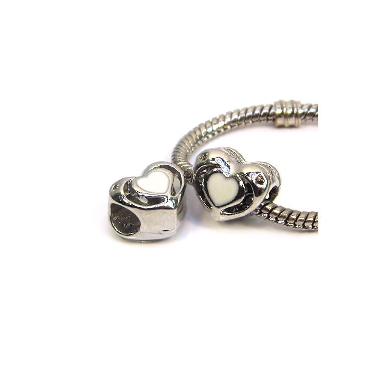 Намистина Пандора Серце ажурне, 10-12 мм, металева з білою емаллю