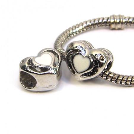 Бусина Пандора Сердце ажурное, 10-12 мм, металлическая с белой эмалью