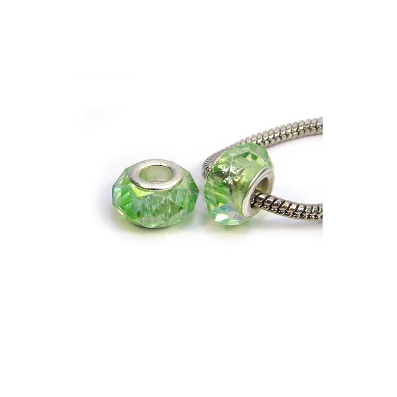 Намистини Пандора, кришталеві з огранюванням, 8х14 мм, світло-зелені
