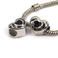 Намистина Пандора Серце ажурне, 10-12 мм, металева з чорною емаллю