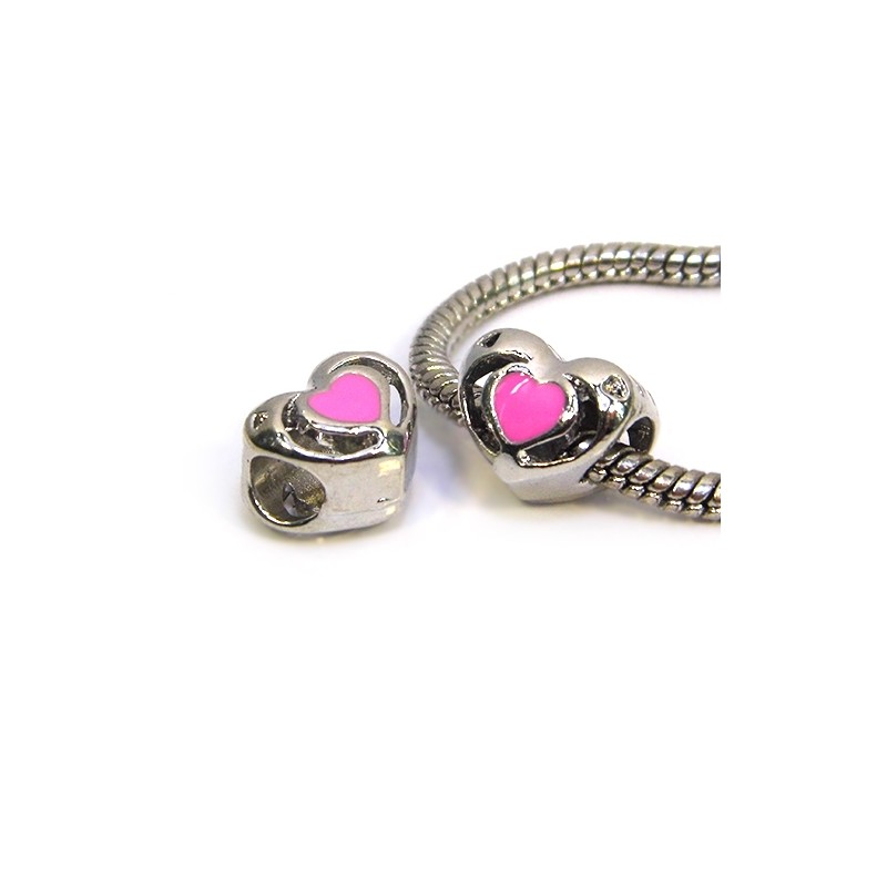 Намистина Пандора Серце ажурне, 10-12 мм, металева з рожевою емаллю
