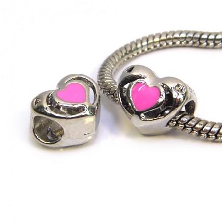 Бусина Пандора Сердце ажурное, 10-12 мм, металлическая с розовой эмалью