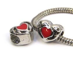 Бусина Пандора Сердце ажурное, 10-12 мм, металлическая с красной эмалью