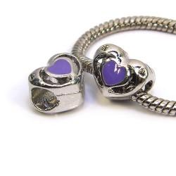 Бусина Пандора Сердце ажурное, 10-12 мм, металлическая с фиолетовой эмалью
