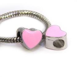 Намистина Пандора Серце емальована, 9-10 мм, металева з ніжно-рожевою емаллю