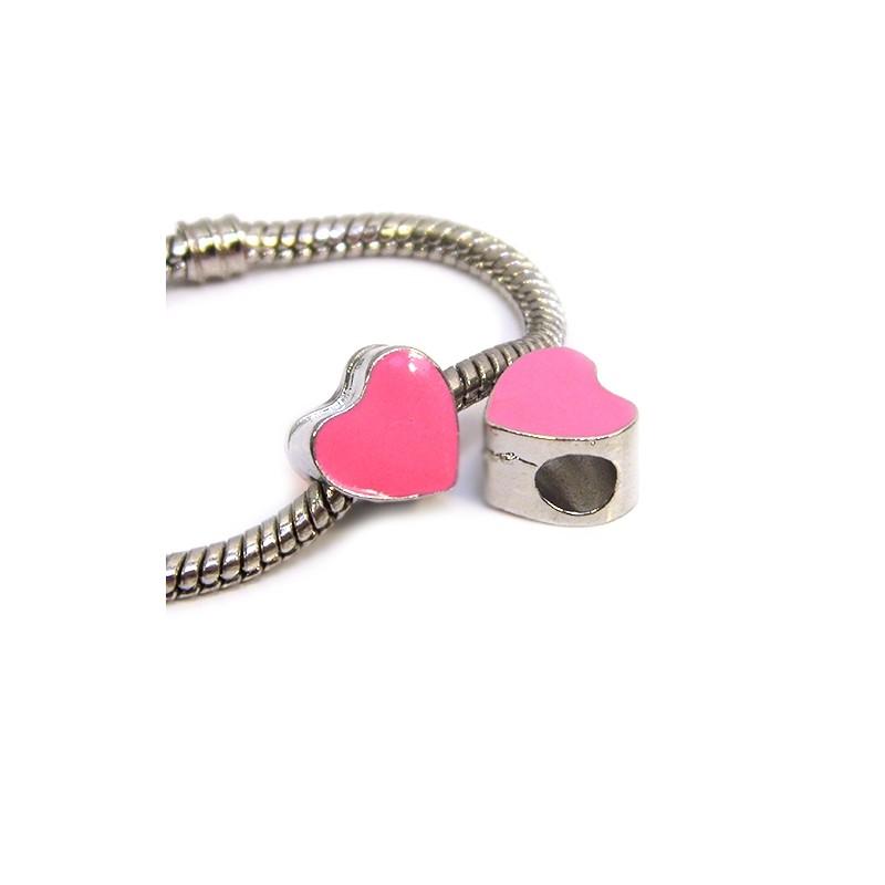 Бусина Пандора Сердце эмалированная, 9-10 мм, металлическая с розовой эмалью