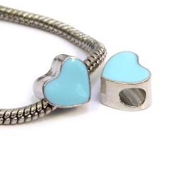 Намистина Пандора Серце емальована, 9-10 мм, металева з блакитною емаллю
