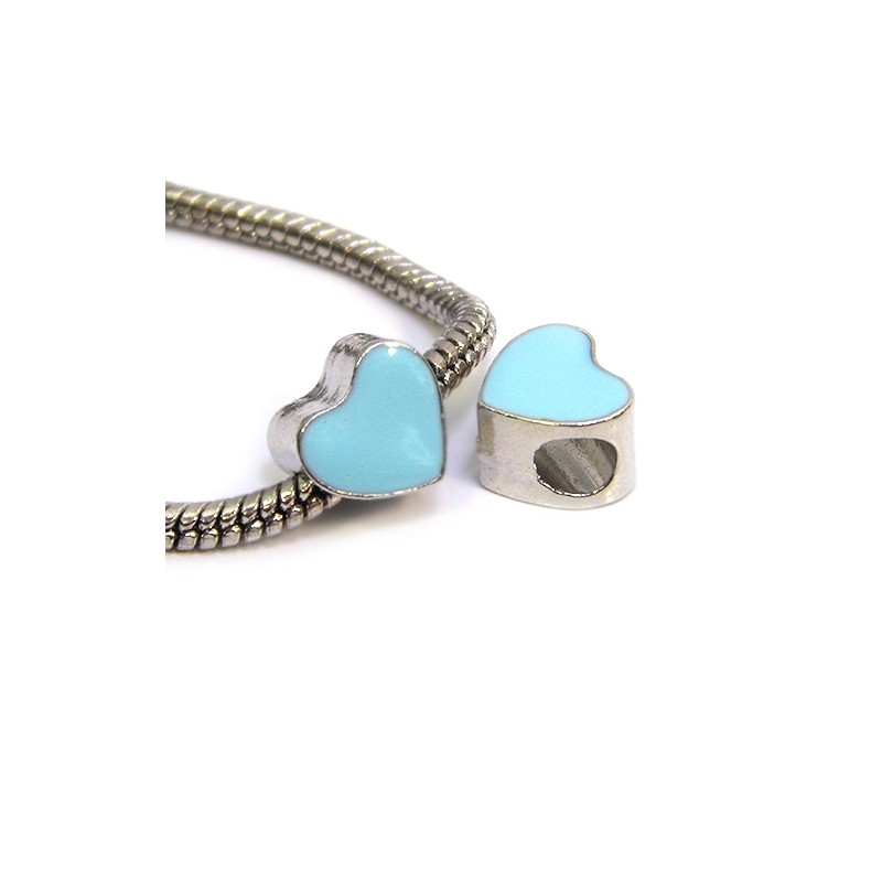 Бусина Пандора Сердце эмалированная, 9-10 мм, металлическая с голубой эмалью