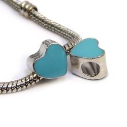 Бусина Пандора Сердце эмалированная, 9-10 мм, металлическая с бирюзовой эмалью