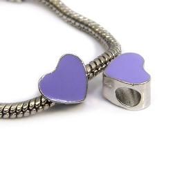 Бусина Пандора Сердце эмалированная, 9-10 мм, металлическая с фиолетовой эмалью