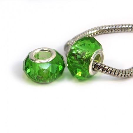 Бусины Пандора, хрустальные с огранкой, 8х14 мм, зеленые