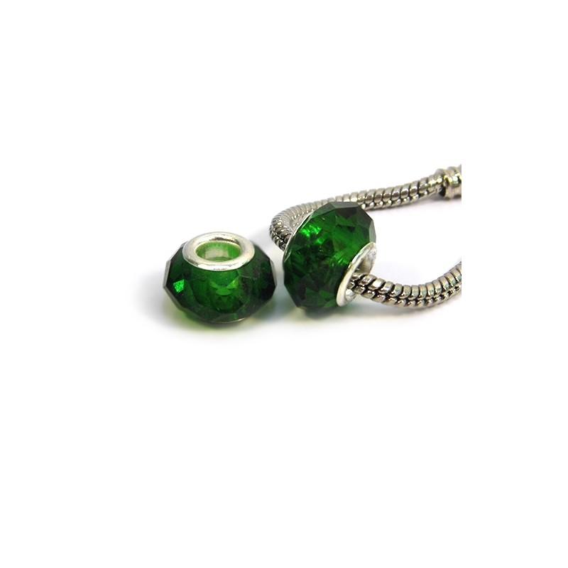 Бусины Пандора, хрустальные с огранкой, 8х14 мм, темно-зеленые