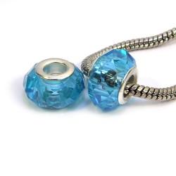 Бусины Пандора, хрустальные с огранкой, 8х14 мм, голубые