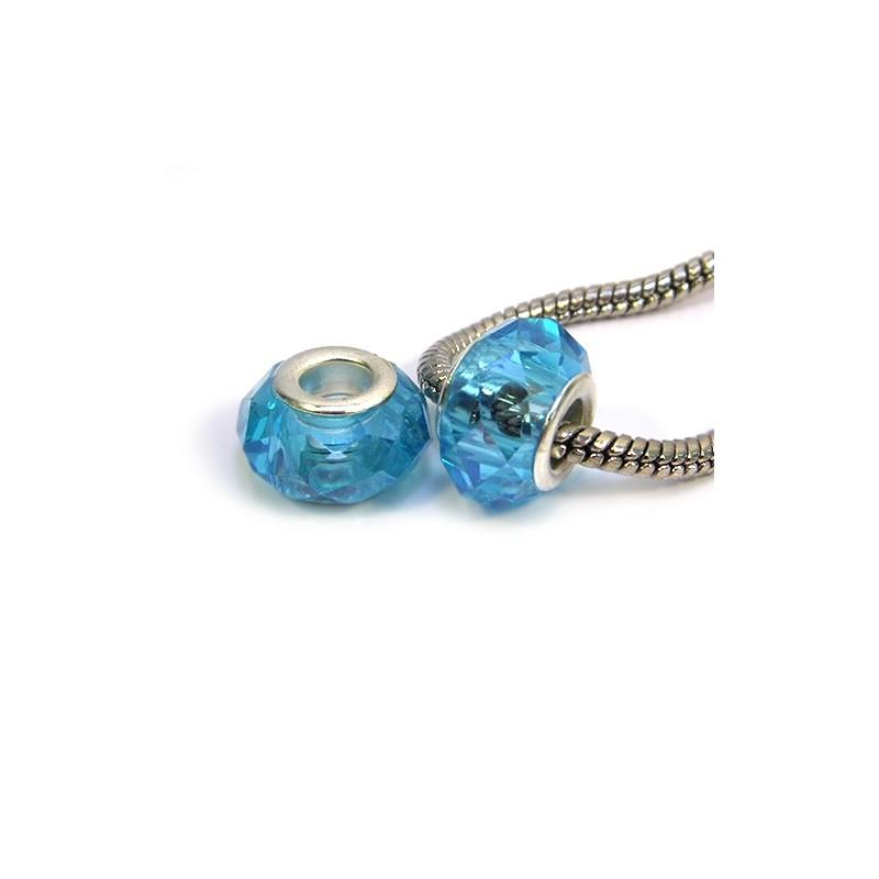 Намистини Пандора, кришталеві з огранюванням, 8х14 мм, блакитні