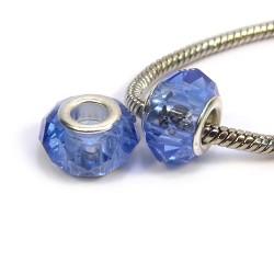 Намистини Пандора, кришталеві з огранюванням, 8х14 мм, світло сині