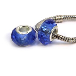 Намистини Пандора, кришталеві з огранюванням, 8х14 мм, сині