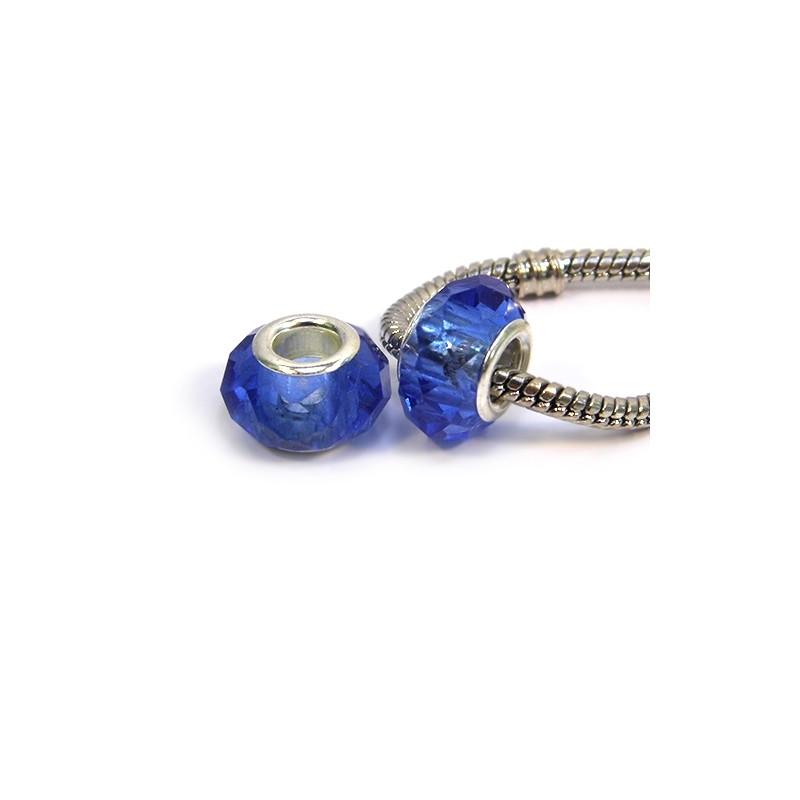 Бусины Пандора, хрустальные с огранкой, 8х14 мм, синие