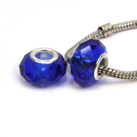 Бусины Пандора, хрустальные с огранкой, 8х14 мм, темно-синие