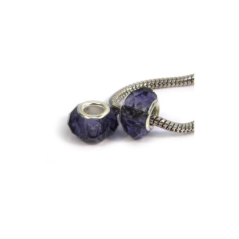 Бусины Пандора, хрустальные с огранкой, 8х14 мм, фиолетовые