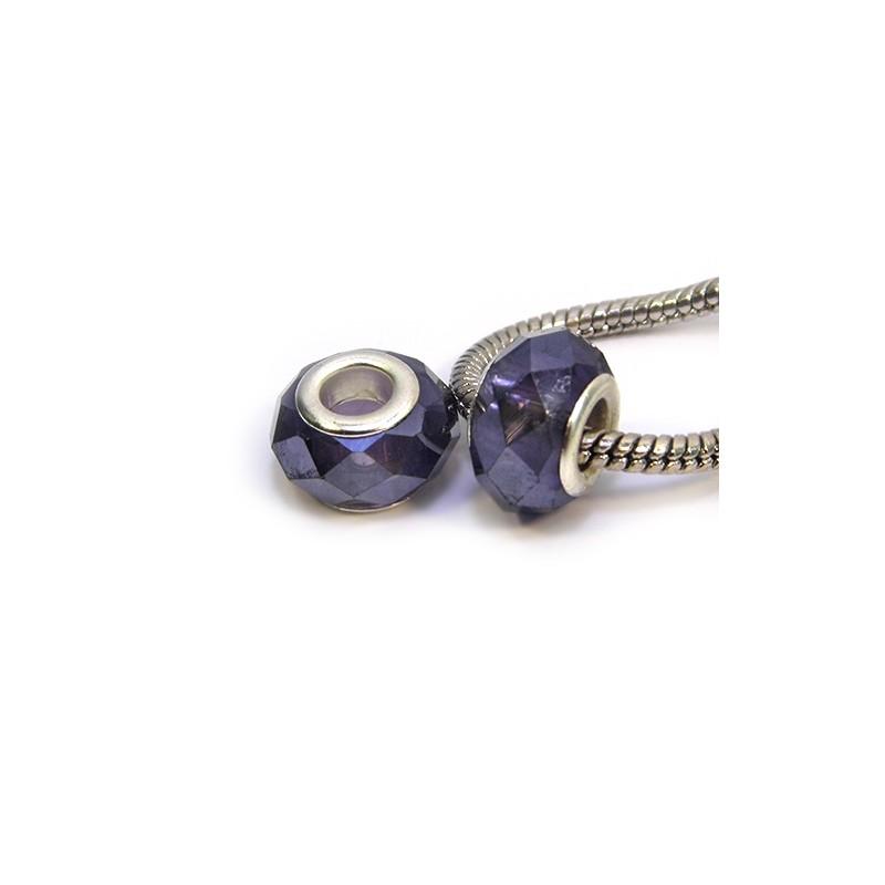 Намистини Пандора, кришталеві з огранюванням, 8х14 мм, фіолетові хамелеони