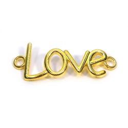 """Коннектор """"Love"""", 15х40 мм, металлический, цвет золотой"""