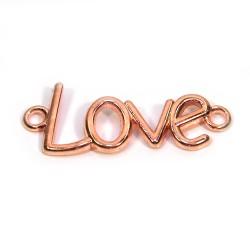"""Коннектор """"Love"""", 15х40 мм, металлический, цвет красное золото"""