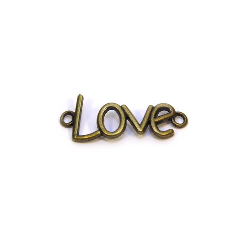 """Коннектор """"Love"""", 15х40 мм, металлический, цвет бронзовый"""