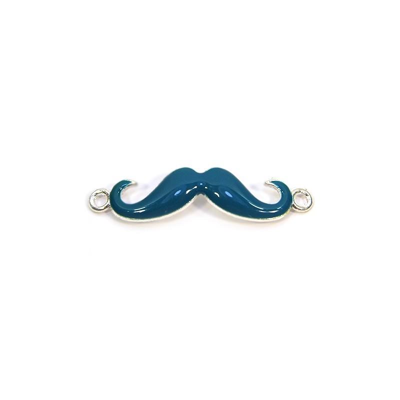 Коннектор Усы эмалированный, 10х39 мм, металлический, цвет серебряный с голубой эмалью.
