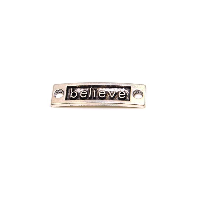 """Коннектор """"believe"""", 9х15 мм, металлический, цвет стальной"""
