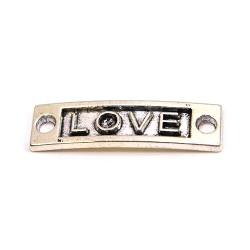 """Конектор """"LOVE"""", 9х15 мм, металевий, колір сталевий"""