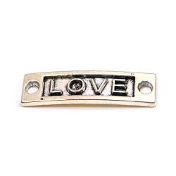 """Коннектор """"LOVE"""", 9х15 мм, металлический, цвет стальной"""
