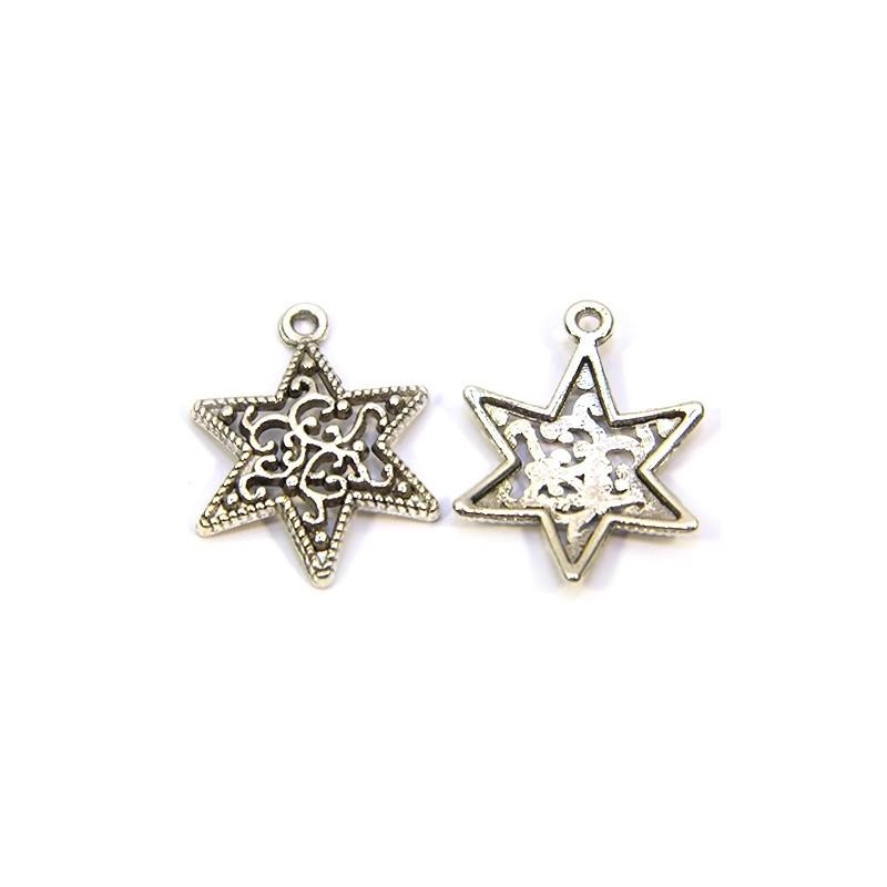 Підвіска зірка Давида ажурна,18х23мм, металева