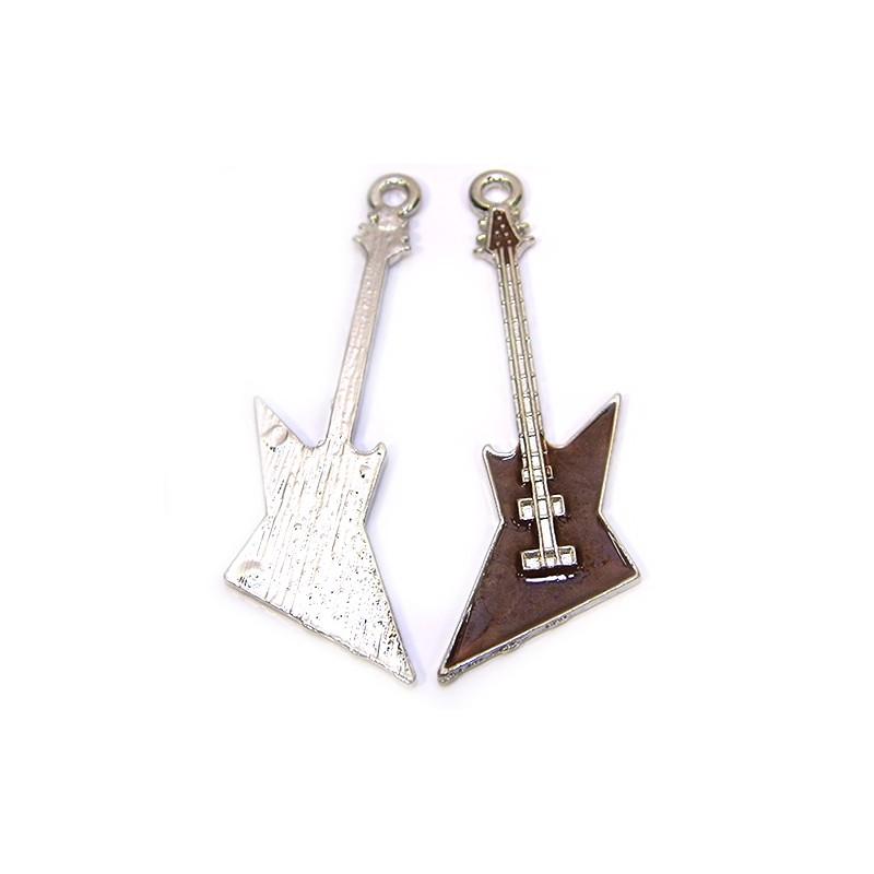 Емальована підвіска Гітара коричнева, 22х63мм, сталева