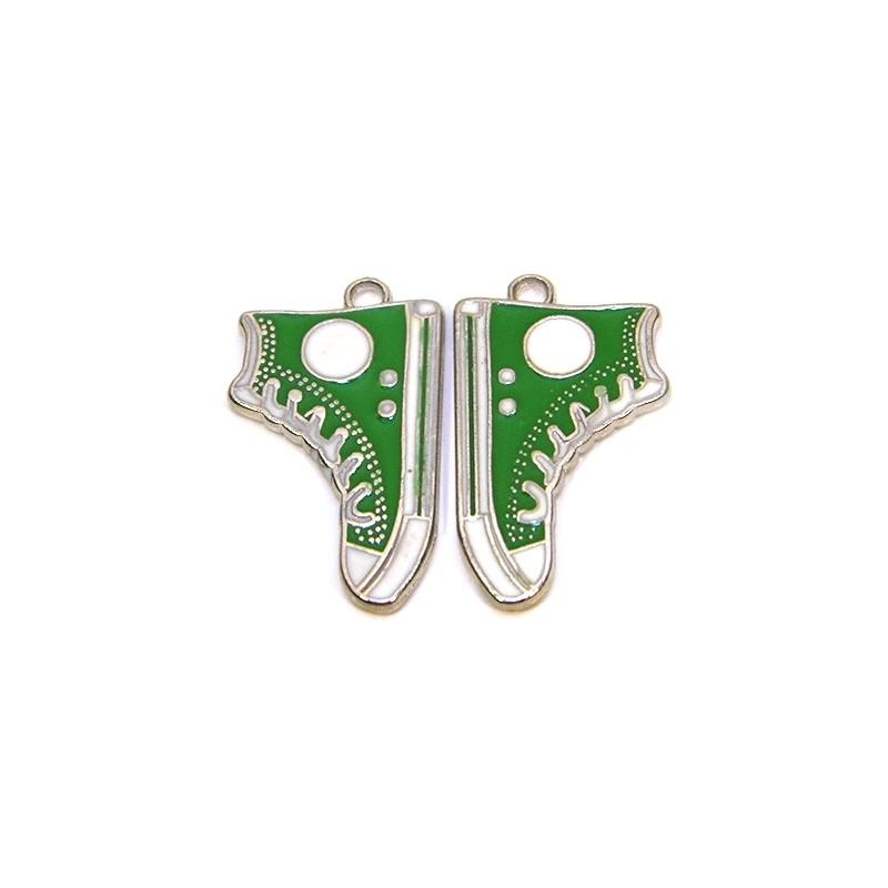 Емальована підвіска кед, 17х30мм, зелена