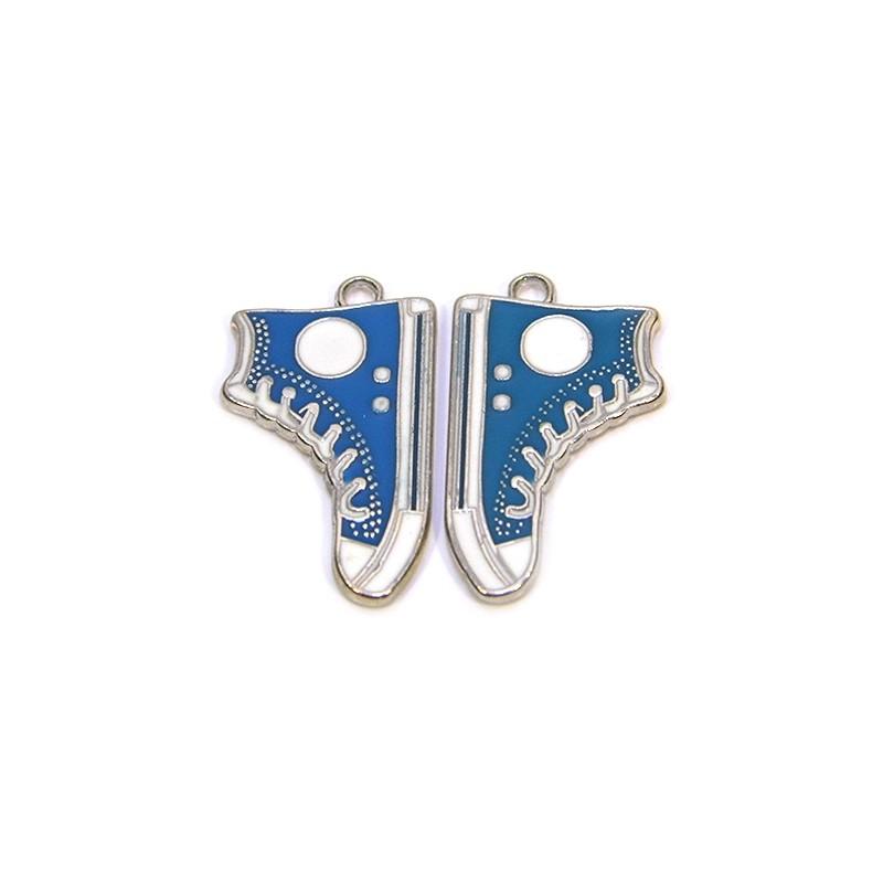 Емальована підвіска кед, 17х30мм, синя