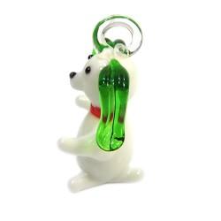 Подвеска Песик, 16х22х38мм, Лэмпворк, белая с зеленым
