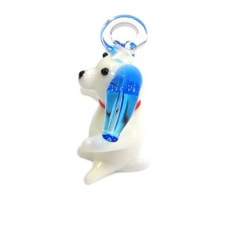 Подвеска Песик, 16х22х38мм, Лэмпворк, белая с голубым