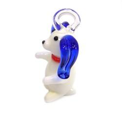 Підвіска Песик, 16х22х38мм, Лемпворк, біла з синім