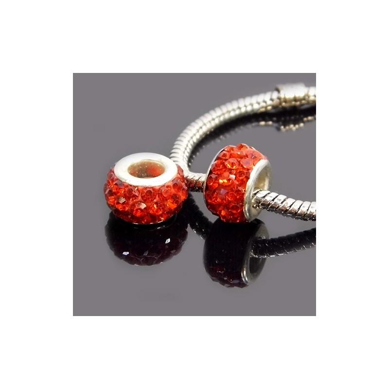 Намистини Пандора, в стразах, 7х12 мм, яскраво червоні