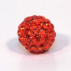 Намистинки Шамбала зі стразами, круглі, 10 мм у діаметрі, яскраво-помаранчеві