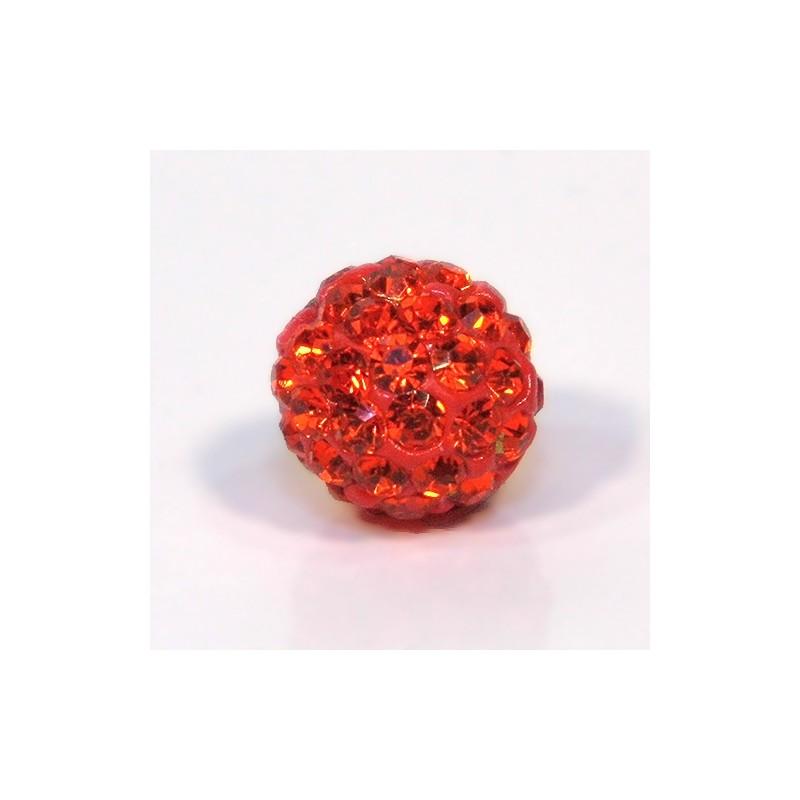Бусины Шамбала в стразах, 10 мм в диаметре, ярко-оранжевые
