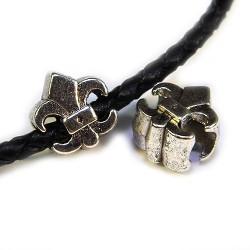 Пандора (Pandora) Бусины Лилии, Флер де лис, металлические, 11х12 мм, стального цвета