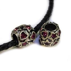 Намистина діжечка у сердечках та зірочках зі стразами, металева, 10х10 мм, колір сталевий, аметист